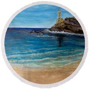 Round Beach Towel featuring the painting Seek A Source Of Light Built On A Firm Foundation To Guide You Safely To Shore by Kimberlee Baxter