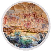 Sego Canyon Indian Petroglyphs And Pictographs Round Beach Towel by Gary Whitton