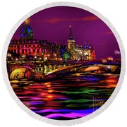 Seine, Paris Round Beach Towel by DC Langer