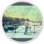 Seine River Inspiration Round Beach Towel