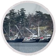 Seiners In Nw Bay Round Beach Towel by Randy Hall