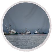 Seiners Off Mistaken Island Round Beach Towel by Randy Hall