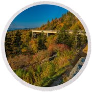 Seize The Day At Linn Cove Viaduct Autumn Round Beach Towel