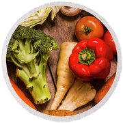 Selection Of Fresh Vegetables On A Rustic Table Round Beach Towel by Jorgo Photography - Wall Art Gallery