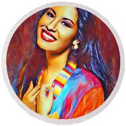 Selena Queen Of Tejano  Round Beach Towel