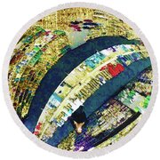 Round Beach Towel featuring the mixed media Self Portrait 1 by Tony Rubino