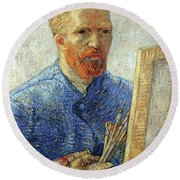 Round Beach Towel featuring the painting Self Portrait As An Artist by Van Gogh