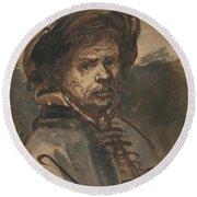 Self Portrait By Rembrandt Round Beach Towel