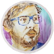 Self Portrait Of A Younger Me Round Beach Towel