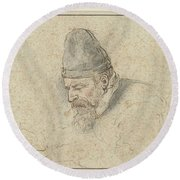 Self Portrait Of Henry Avercamp, Hendrick Avercamp, 1592-1629 Round Beach Towel