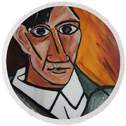 Self Portrait Of Picasso Round Beach Towel by Nora Shepley