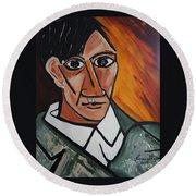 Self Portrait Of Picasso Round Beach Towel