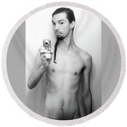 Round Beach Towel featuring the photograph Self Portrait Short Long by Shawn Dall