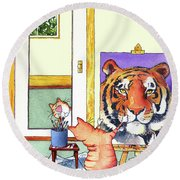 Self Portrait, Tiger Round Beach Towel