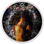 Round Beach Towel featuring the digital art Self Portrait With Aura by Reed Novotny