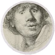 Self-portrait With Beret And Wide-eyed, 1630 Round Beach Towel