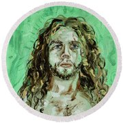 Self Portrait -with Emerald Green And Mummy Brown- Round Beach Towel