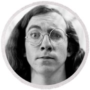 Self-portrait, With Raised Eyebrow, 1972 Round Beach Towel