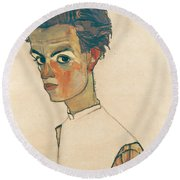 Self-portrait With Striped Shirt Round Beach Towel