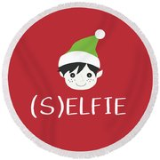 Selfie Elf- Art By Linda Woods Round Beach Towel