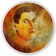 Selfportrait Oil Round Beach Towel