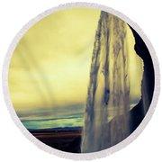 Seljalandsfoss Sunset Round Beach Towel