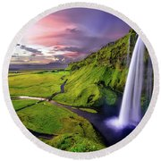 Seljalandsfoss Waterfall Round Beach Towel