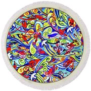 Semi Abstract Paintings Button Round Beach Towel
