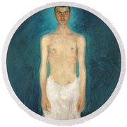 Semi-nude Self-portrait Round Beach Towel