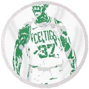 Semi Ojeleye Boston Celtics Pixel Art 1 Round Beach Towel