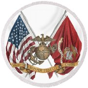 Round Beach Towel featuring the painting Semper Fidelis Crossed Flags by Betsy Hackett
