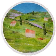 Round Beach Towel featuring the painting Semplicita by Judith Rhue