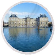Round Beach Towel featuring the photograph Senat From Jardin Du Luxembourg by Christopher Kirby