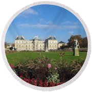 Round Beach Towel featuring the photograph Senate From Jardin Du Luxembourg by Christopher Kirby