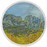 Seneca Rock West Virginia Round Beach Towel