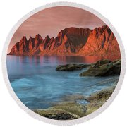 Senja Red Round Beach Towel by Alex Conu