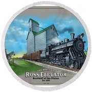 The Ross Elevator Sentinel Of The Plains Round Beach Towel by Scott Ross