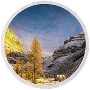 Sentinel Pass Golden Larches Canadian Rockies Round Beach Towel