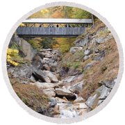 Sentinel Pine Covered Bridge Round Beach Towel
