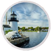 Sentinels Of The Sea Lighthouse Round Beach Towel