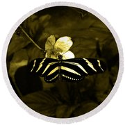 Sepia Butterfly And Flower Round Beach Towel