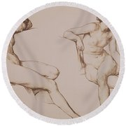 Sepia Drawing Of Nude Woman Round Beach Towel