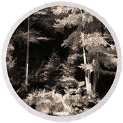 Sepia Forest Round Beach Towel by Betsy Zimmerli