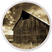 Sepia Historic Barn Round Beach Towel