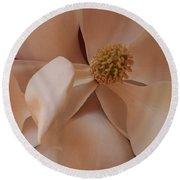 Sepia Magnolia Macro Round Beach Towel