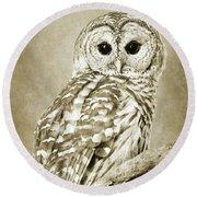 Sepia Owl Round Beach Towel