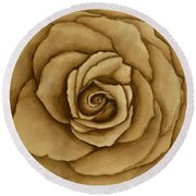 Round Beach Towel featuring the painting Sepia Rose by Kelly Mills