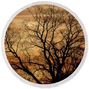 Sepia Sunset Round Beach Towel by Michael Nowotny