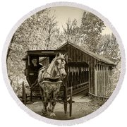Sepia Tone Of A Wooden Covered Bridge And Amish Horse And Buggy Round Beach Towel