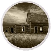 Sepia Tone Of Abandoned Prairie Farm House Round Beach Towel